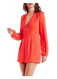 Plunging Bell Sleeve Romper