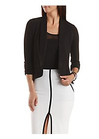 Textured Three-Quarter Sleeve Blazer