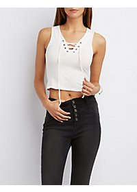 Lace-Up Sleeveless Tank Top