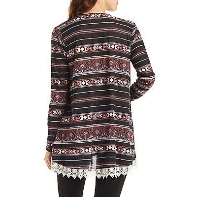 Lace-Trimmed Aztec Print Cardigan