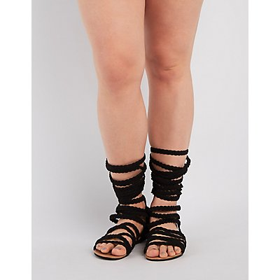 Wide Width & Calf Braided Gladiator Sandals