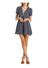 Striped Lace-Up Babydoll Dress