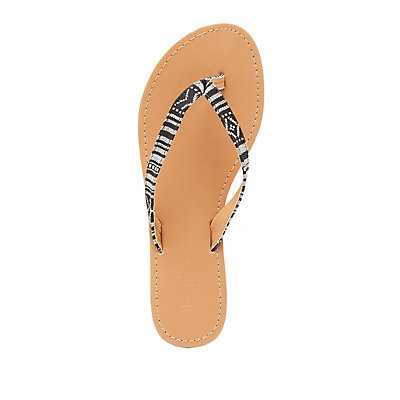 Patterned Strap Thong Sandals