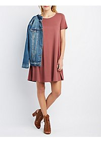 Short Sleeve Trapeze Shift Dress