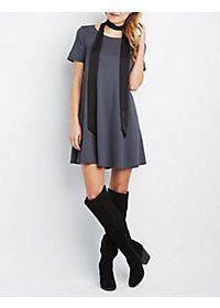 Jella C Short Sleeve Trapeze Shift Dress