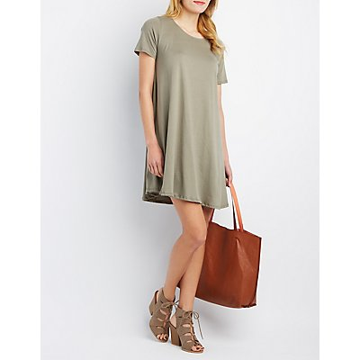Short Sleeve Trapeze Shift Dress