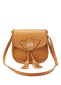 Tasseled Metal Clasp Crossbody Bag