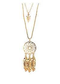 Dreamcatcher & Crystal Layered Necklace