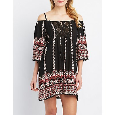 Off-the-Shoulder Boho Shift Dress