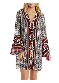 Border Print Boho Dress