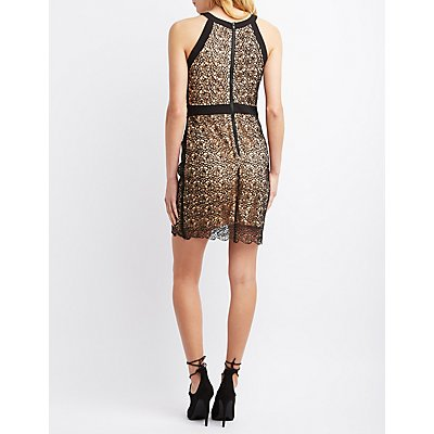City Triangles Floral Lace Bodycon Dress