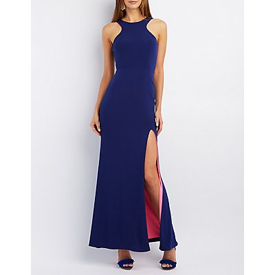 City Triangles Contrast Hem Maxi Gown