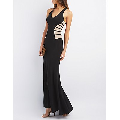 City Triangles Mesh Trim Maxi Gown