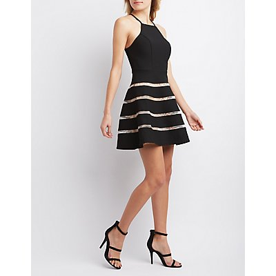 City Triangles Mesh Stripe Skater Dress