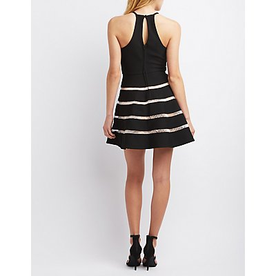 City Triangles Mesh Stripe Skater Dress