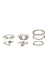 Arrows & Chevrons Stackable Rings - 5 Pack