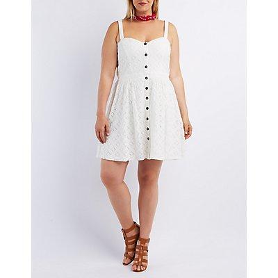 Plus Size Floral Crochet Skater Dress