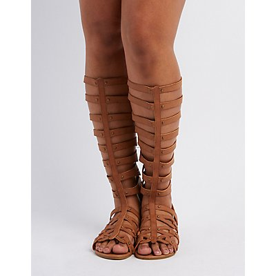 Wide Width & Calf Knee-High Gladiator Sandals