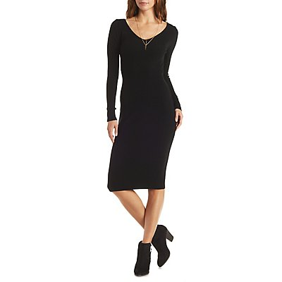 Plunging Ribbed Bodycon Dress