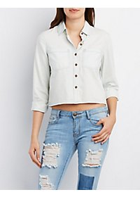 Cropped Chambray Button-Up Shirt