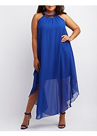 Plus Size Metallic Collar Chiffon Maxi Dress