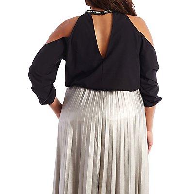 Plus Size Rhinestone Collar Top