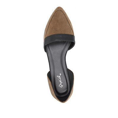 Qupid Pointed Toe D'Orsay Flats