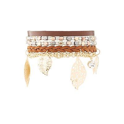 Earth Tone Layering Bracelets - 4 Pack