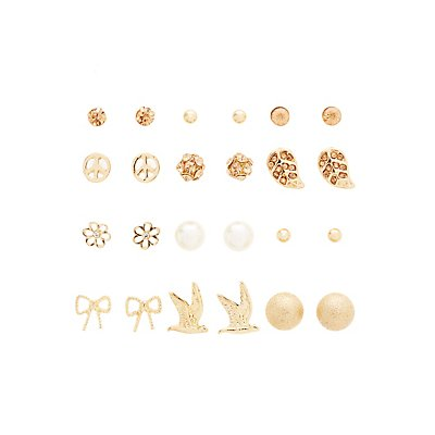 Rose Gold Stud Earrings - 12 Pack