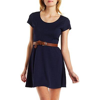 Cap Sleeve Keyhole Skater Dress