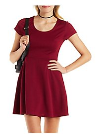 Cap Sleeve Keyhole Skater Dress