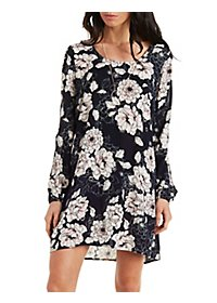 Printed Cold Shoulder Shift Dress