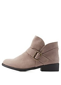 Belted Round Toe Ankle Booties