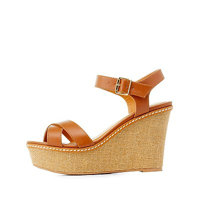 Crisscross Platform Wedge Sandals