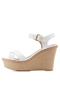 Two Piece Platform Wedge Sandals