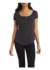 Scoop Neck Henley Top