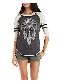 Graphic Raglan Sleeve Baseball Tee