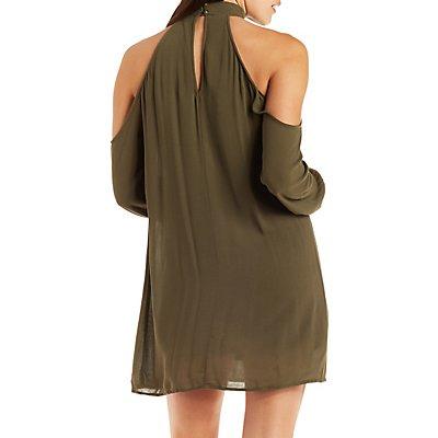Cold Shoulder Mock Neck Shift Dress