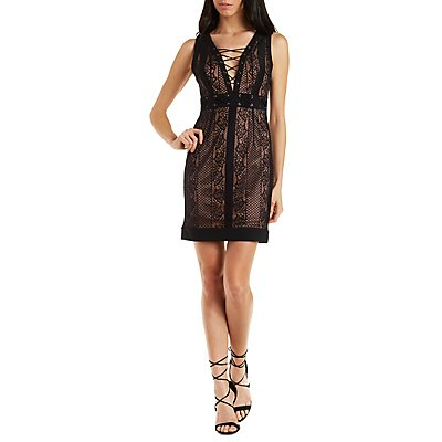 Dress Forum Grommet-Trim Lace Dress