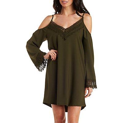 Cold Shoulder Lace Trim Shift Dress