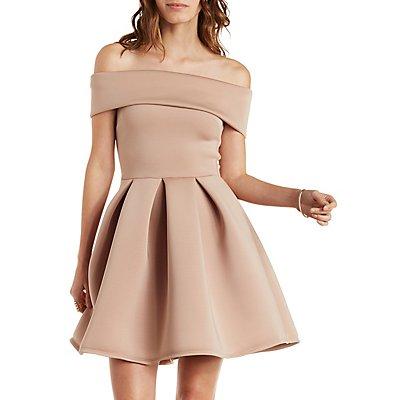 Off-the-Shoulder Pleated Skater Dress