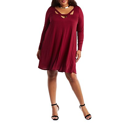 Plus Size Cut-Out Shift Dress