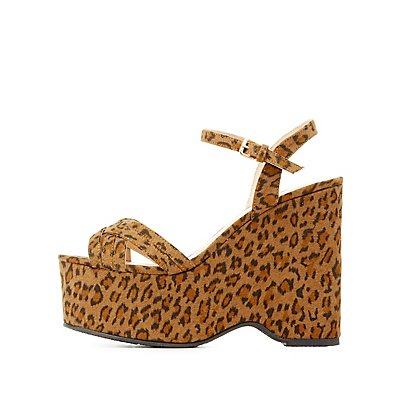 Strappy Two-Piece Wedge Sandals