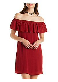 Off-the-Shoulder Ruffle Shift Dress