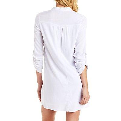 Mandarin Collar Shirt Dress