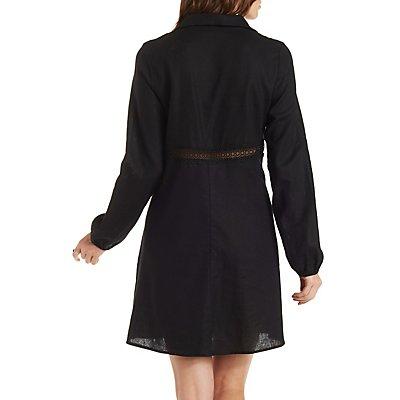 Long Sleeve Crochet Trim Shirt Dress