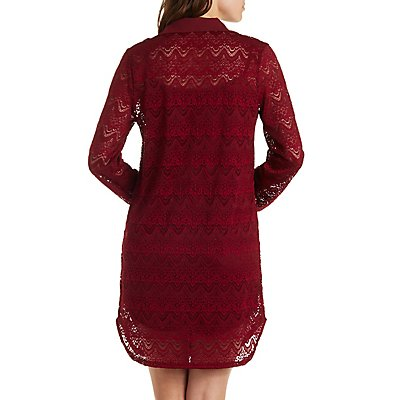 Long Sleeve Lace Shirt Dress