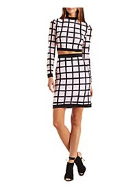 Windowpane Print Crop Top & Skirt Two-Piece Set