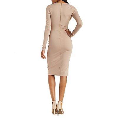 Long Sleeve Deep V Midi Dress