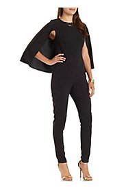 Caped Skinny Jumpsuit